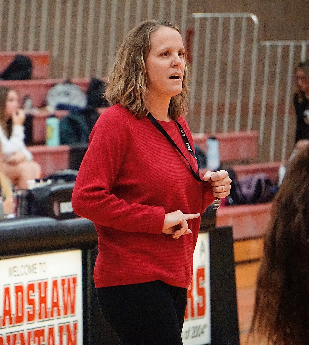 Bradshaw Mountain head coach Karrie Platt gives her players instructions during the team's 3-1 win over Coconino on Tuesday, Oct. 1, 2019, at Bradshaw Mountain High School. (Aaron Valdez/Courier)