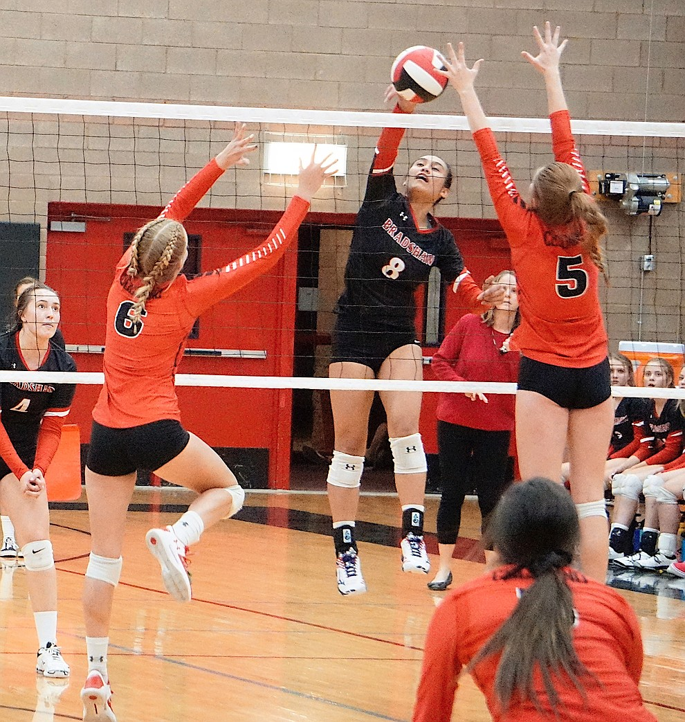 Bradshaw Mountain OH Mailani Manuel (8) skies for the kill during the team's 3-1 win over Coconino on Tuesday, Oct. 1, 2019, at Bradshaw Mountain High School. (Aaron Valdez/Courier)