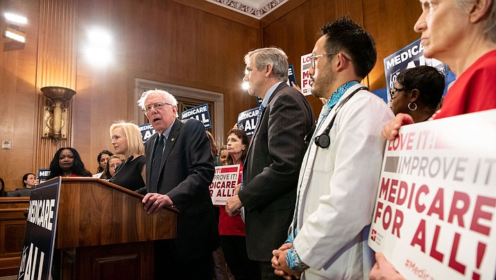 U.S. Sen. Bernie Sanders (I-Vermont) speaks during a campaign rally. Sanders underwent a heart procedure Tuesday, Oct. 1, 2019, and has put all campaign events and appearances on hold while he recovers. (Public domain)
