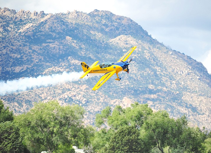 Matt Chapman and his Extra 330LX performs during the Wings Out West Airshow at Prescott Regional Airport last year. (Les Stukenberg/Courier)