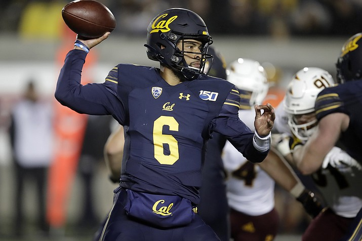 California quarterback Devon Modster (6) passes against Arizona State in the second half of a game, Friday, Sept. 27, 2019, in Berkeley, Calif. (Ben Margot/AP)