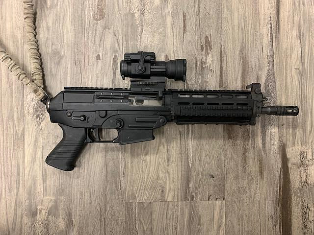 This Sig Sauer 5.56mm pistol was allegedly pointed at a victim over a parking dispute this week by Jonathan M. Schoenhardt, 41, of Cottonwood. Courtesy of Cottonwood Police Department.