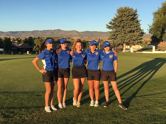 Prescott girls golf (left to right: Abby Harris, Kaity Kasun, Alayna O' Neil, Makayla Reyes, Brannagh Woods) poses for a celebratory photo after its win over Bradshaw Mountain and Lee Williams on Thursday, Oct. 3, 2019, at Prescott Country Club. (Debbie Fitzgerald/Courtesy)