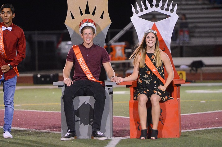 It was an exciting moment when Mingus Union High School students Emma Warner and Andrew Peterson were named Homecoming Queen and King during halftime of Friday's Homecoming football game. VVN / Vyto Starinskas