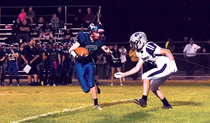 Camp Verde sophomore Matt Loza runs the ball against Sedona Red Rock. VVN/James Kelley