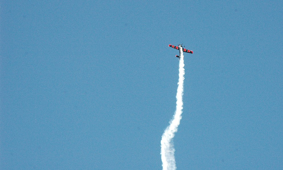 Rob Holland performs aerial acrobatics during the 2019 Wings Out West Air Show at the Prescott Regional Airport Saturday, Oct. 5, 2019. (Jason Wheeler/Courier)