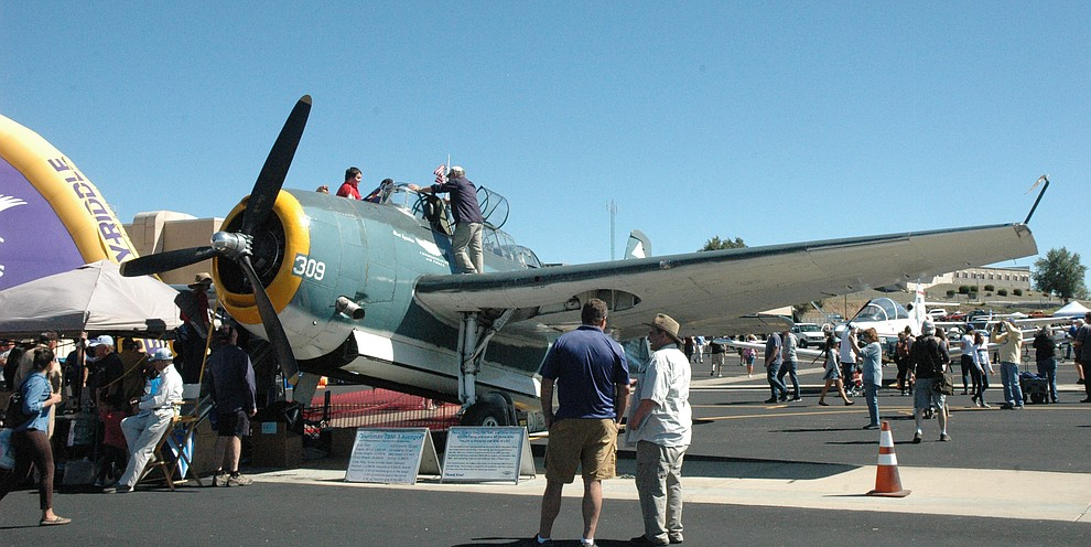 Attendees to the 2019 Wings Out West Air Show at the Prescott Regional Airport held Saturday, Oct. 5, enjoy static displays. (Jason Wheeler/Courier)