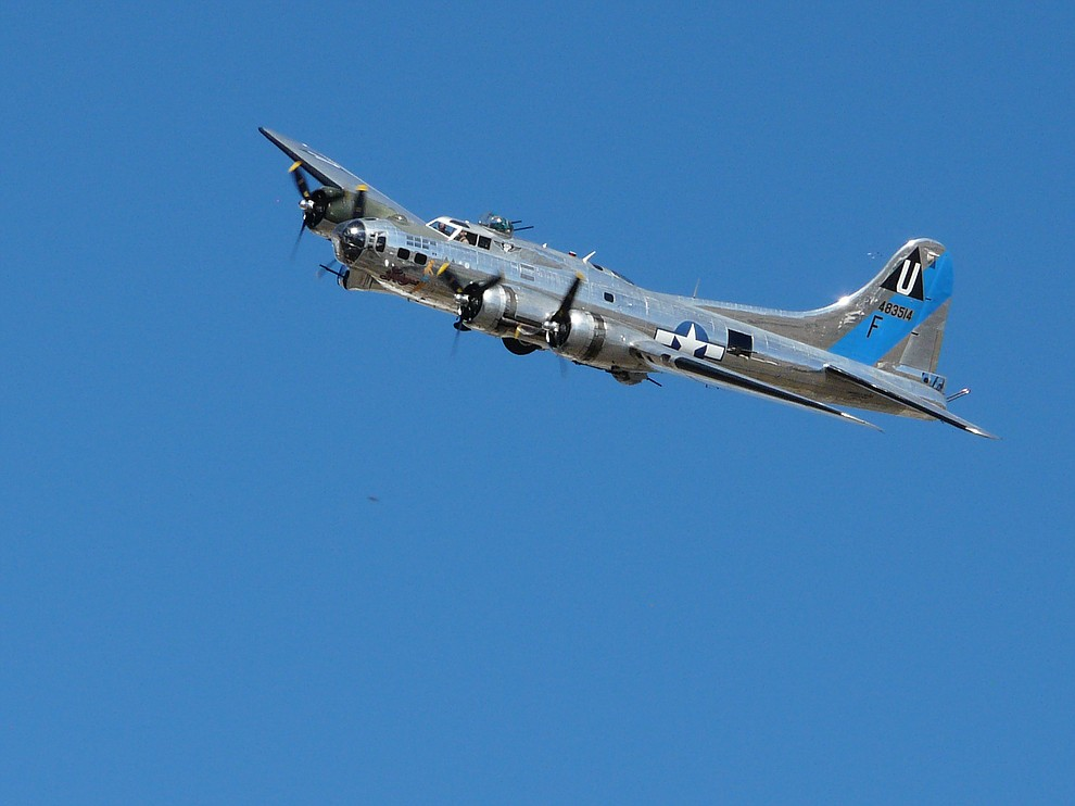 Joy Jordan shared this image from the Wings Out West Air Show on Saturday morning, Oct. 5, 2019, at Prescott's Love Field. A B-17 Bomber in all its glory on a cloudless blue canvas. (Courtesy)