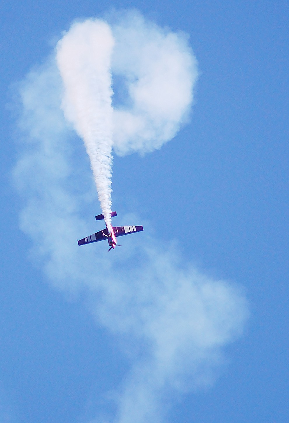 Bill Stein flies aerial acrobatics during the 2019 Wings Out West Air Show at the Prescott Regional Airport Saturday, Oct. 5, 2019. (Tim Wiederaenders/Courier)