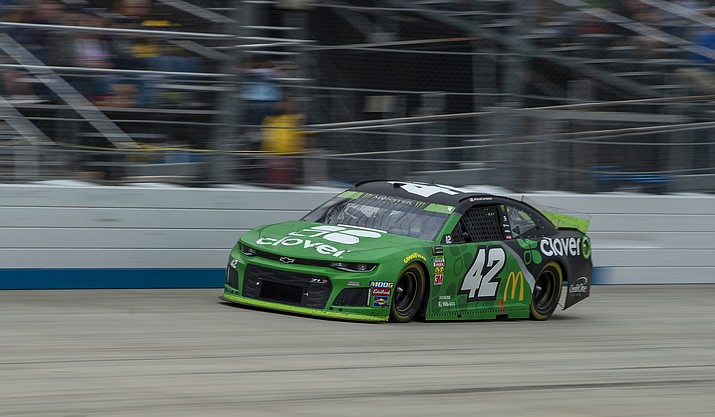 Kyle Larson drives on the way to winning the NASCAR Cup Series playoff auto race Sunday, Oct. 6, 2019, at Dover International Speedway in Dover, Del. (Jason Minto/AP)