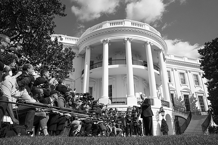 President Donald J. Trump talks to members of the press on the South Lawn of the White House Friday, Oct. 4, 2019, prior to boarding Marine One en route the Walter Reed National Military Medical Center in Bethesda, Md. (Official White House Photo by Joyce N. Boghosian)