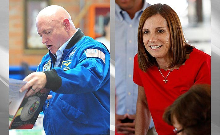 Mark Kelly, left, has outraised Republican Sen. Martha McSally, right, for the third straight quarter in one of the most hotly contested 2020 Senate races. (Kelly photo, Les Stukenberg/Courier)/McSally photo,Associated Press)