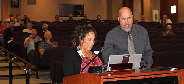 Mohave County Treasurer Cindy Landa Cox speaks to the Mohave County Board of Supervisors on Monday, Oct. 7, 2019. Next to her is Randy VanderPlaats from the Treasurer's Office. (Photo by Agata Popeda/Daily Miner)