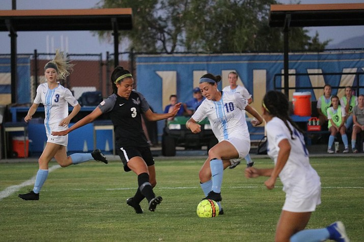 Embry-Riddle's Riley Martinson (10) fights for possession during a match Aug. 24, 2019. Martinson was one of three players to score a goal for the Eagles in a 3-0 victory over Marymount California on Sunday, Oct. 6, 2019, in Prescott. (ERAU Athletics/Courtesy)