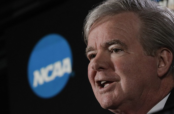 In this March 29, 2018, file photo, NCAA President Mark Emmert speaks during a news conference at the Final Four NCAA college basketball tournament, in San Antonio. The NCAA is on its heels again, playing defense of its archaic amateurism rules after missing an opportunity to get out in front of an issue. (David J. Phillip/AP, file)