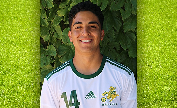 Yavapai College men's soccer player Jonathan Mayen scored two goals for the Roughriders in a 4-2 victory over Mesa Community College on Saturday, Oct. 5, 2019, in Prescott. (YC Athletics/Courtesy)