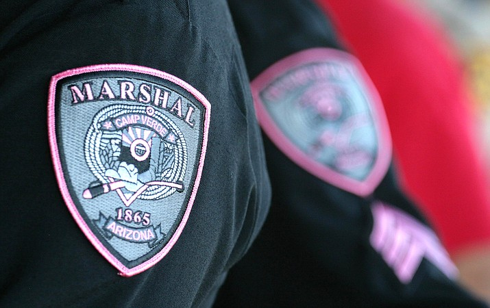 Camp Verde Marshal's Office deputies will wear pink patches during October for Breast Cancer Awareness Month. Anyone can purchase a pink patch for $10. Proceeds go toward the fight against breast cancer. VVN/Bill Helm