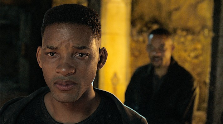 "Will Smith portrays Junior, foreground, with Henry Brogan in the Ang Lee film ""Gemini Man."" (Paramount Pictures via AP)"