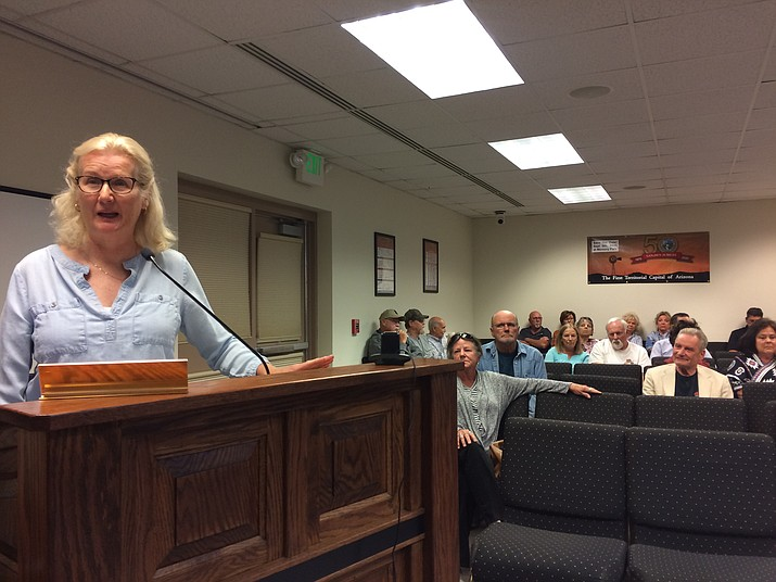 Tina Harmon voices her opposition to the proposed Brook Apartments and the proposed zoning change to allow them at the Tuesday, Oct. 1, Planning & Zoning Commission meeting. (Jason Wheeler/Review)