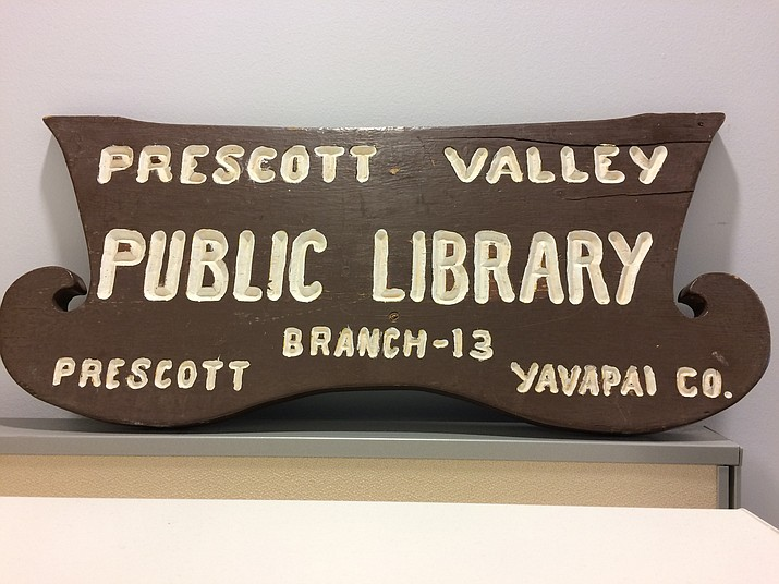 An old Prescott Valley Public Library sign. (Sue Tone/Tribune)