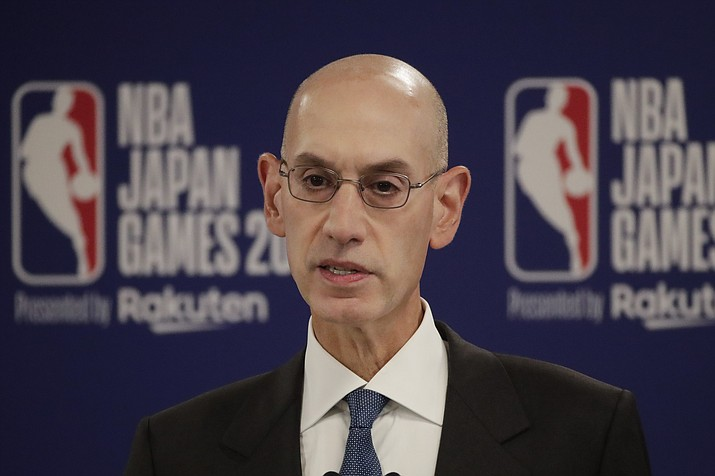 NBA Commissioner Adam Silver speaks at a news conference before an preseason game between the Houston Rockets and the Toronto Raptors Tuesday, Oct. 8, 2019, in Saitama, near Tokyo. (Jae C. Hong/AP)