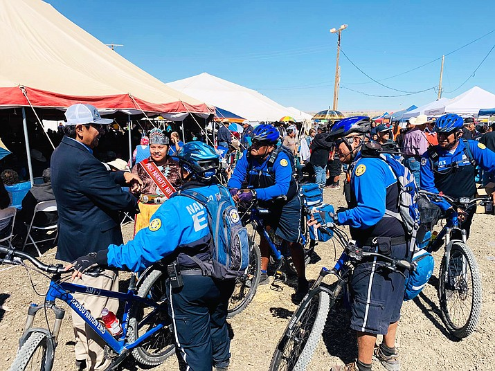 Nez visits with an EMS bike unit at the Navajo Nation Fair in Shiprock, NM, Oct. 3. (Photo/Office of the Navajo Nation President and Vice President via Facebook)