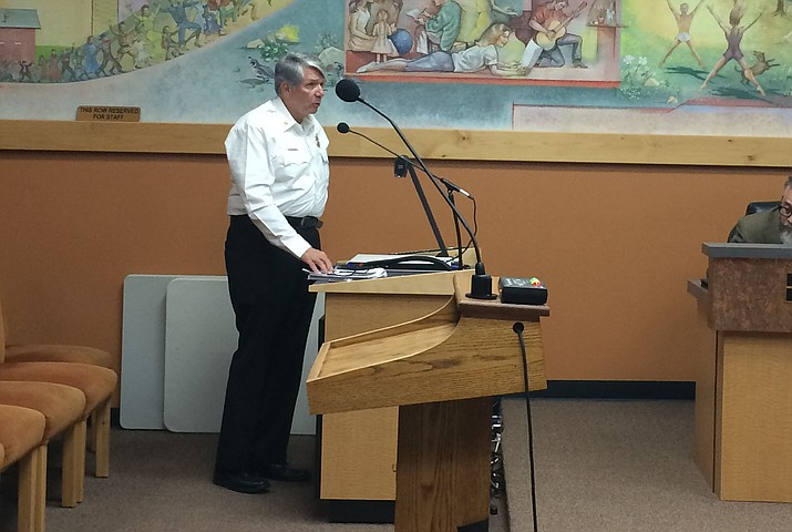 Prescott Fire Department Chief Dennis Light speaks to council on the national accreditation process on Tuesday, Oct. 8.