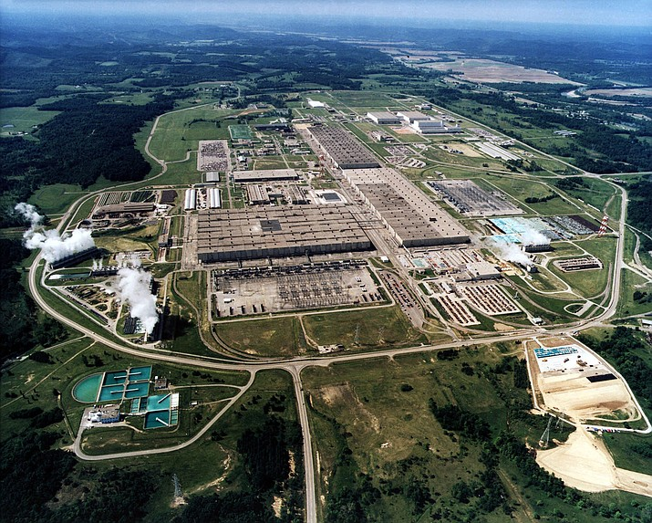 This undated file photo shows the large uranium plant in Piketon, Ohio. U.S. uranium mining companies and nuclear power plant operators are hoping for a bailout in the name of national security. President Donald Trump is scheduled to get recommendations Thursday, Oct. 10, 2019 from a federal task force studying ways to revive domestic uranium mining. The Nuclear Energy Institute representing uranium mine companies has asked the task force for tax breaks and other financial support. (AP Photo/U.S. Dept. of Energy VIA AP)