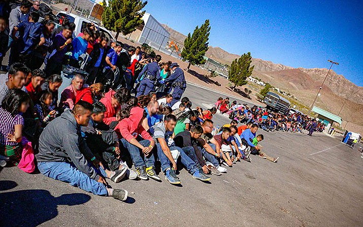 Border Patrol agents stopped 1,036 men, women and children trying to cross the border in El Paso, Texas, earlier this year. Just under 980,000 migrants were apprehended at the southern border in fiscal year 2019, the highest number in more than a decade, and many were families and children. (Photo by Agent Edward Butron/U.S.Customs and Border Patrol)