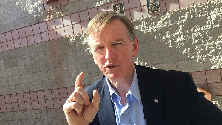 """In Cottonwood this week, U.S. District 4 Rep. Paul Gosar, said, """"I am not voting for impeachment. Time and time they have investigated this, with nothing there."""" VVN/Vyto Starinskas"""