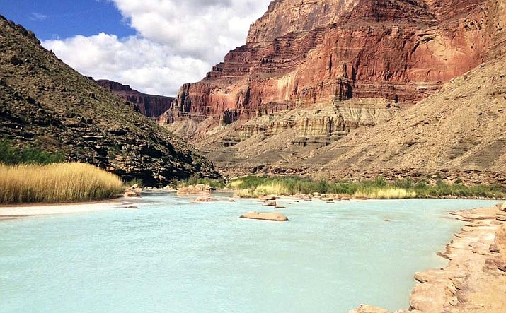 This April 2016 provided by Lisa Winters shows the Little Colorado River about a half mile from where it empties into the much-larger Colorado River in northeastern Arizona. A Colorado River tributary in northeastern Arizona is being eyed for power generation. A newly formed Phoenix company wants to put up dams on the Little Colorado River. Pumped Hydro Storage, LLC. is seeking preliminary permits from the federal government to study sites on the Navajo Nation. (Lisa Winters/Grand Canyon Trust via AP)