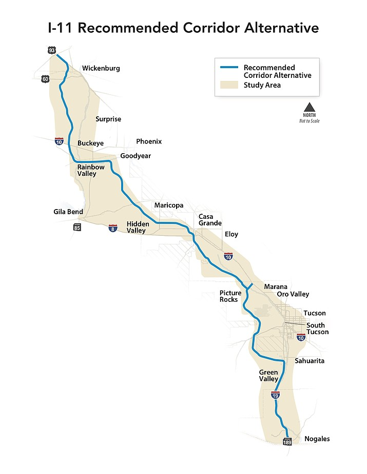 A proposed route for Interstate 11, which would run from Nogales and the Mexican border to Wickenburg, would help reduce truck traffic in Phoenix, but would also require billions of dollars and hundreds of miles of new road construction. Courtesy of Capitol Media Services