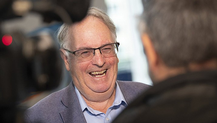 Stanley Whittingham, a British-American chemistry professor at the State University of New York at Binghamton, laughs during the Advanced Lithium Batteries for Automobile Applications (ABAA) conference in Ulm, Germany, Wednesday, Oct. 9, 2019. Whittingham is one of three scientists who have won this year's Nobel Prize in Chemistry for their contributions to lithium-ion batteries, which have reshaped energy storage and transformed cars, mobile phones and many other devices in an increasingly portable and electronic world. (Courtesy photo by Sebastian Gollnow)