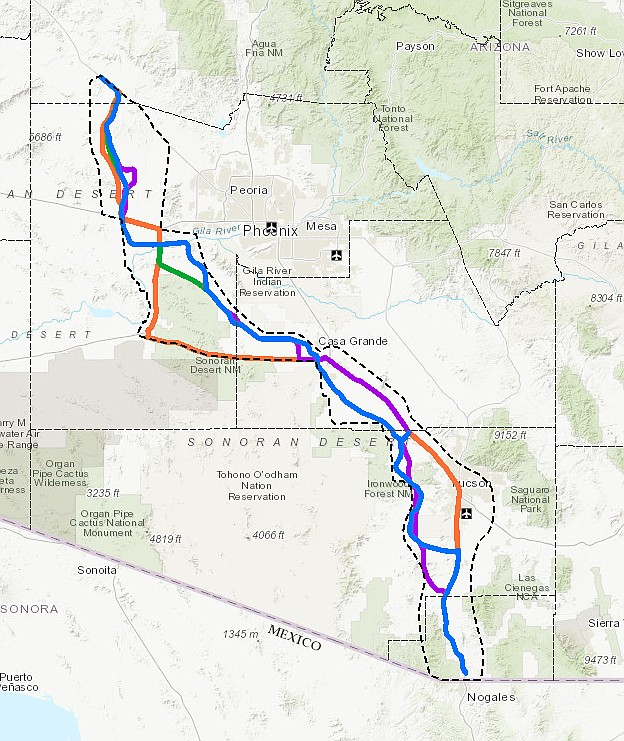 A proposed new highway from Nogales to Wickenburg has created some opposition within the state. (Courtesy imaage)