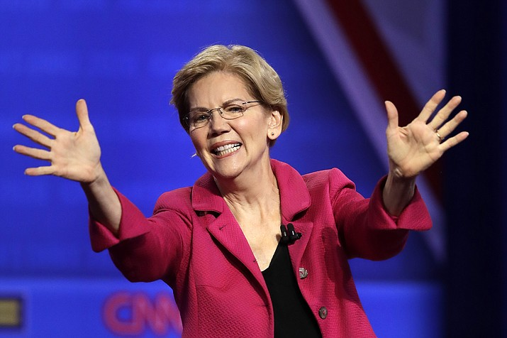 In this Oct. 10, 2019, photo, Democratic presidential candidate Sen. Elizabeth Warren, D-Mass., speaks during the Power of our Pride Town Hall in Los Angeles. (Marcio Jose Sanchez/AP)