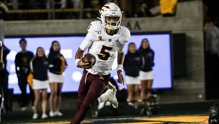 Jayden Daniels rushed for the game-winning touchdown Saturday as Arizona State defeated Washington State  38-34. (Photo courtesy of Sun Devils Athletics)