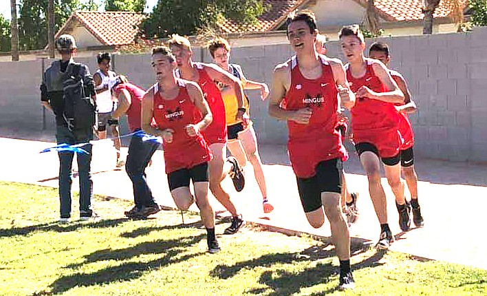 Mingus junior Jehiah Rogers leads the pack during Friday's Titan Invitational in Gilbert. Rogers finished in second by seconds. Photo courtesy Macy Ahlers