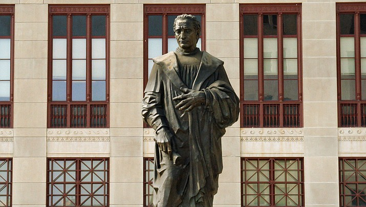 A statue of explorer Christopher Columbus, one of many in the United States, is shown next to city hall in Columbus, Ohio. (Photo by Derek Jensen/Public Domain)