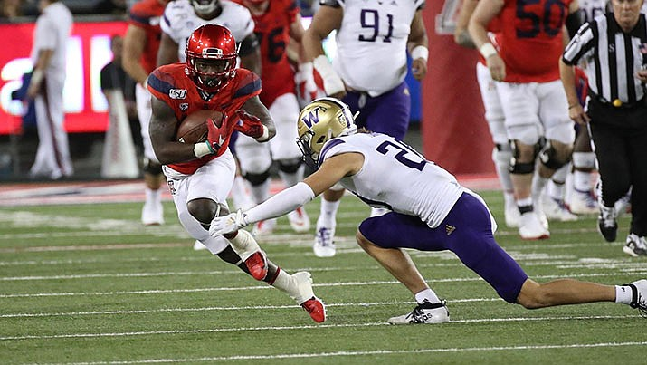 Arizona wide receiver Jamarye Joiner runs after a catch during the Wildcats 51-27 loss to Washington on Saturday. (Univeristy of Arizona Athletics photo)