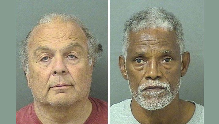 Two men have been charged with illegally dumping raw sewage down Florida manholes, spilling some down sidewalks. (Palm Beach County Sheriff's Office)