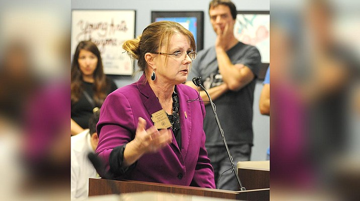 """At a meeting Thursday in Phoenix, speaking to the Joint Legislative Audit Committee, State Rep. Kelly Townsend (R-Mesa) said evidence shows there are """"clearly not enough employees to go through all of the various applications"""" for private and parochial schools. (Capitol Media Services 2019 file photo by Howard Fischer)"""