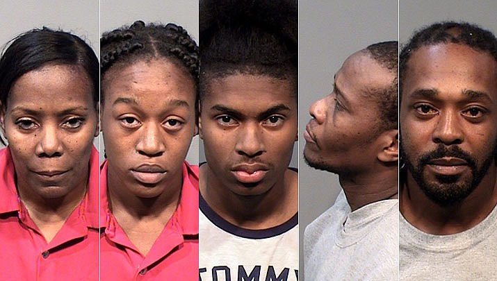 Ann Fairley, 54, Natasia Anderson, 19, Jerod Fairley, 19, Robert Grant, 47, and Alton Deas, 39, were arrested after a large amount of cocaine and heroin were found in a vehicle they were travelling through Ash Fork in on Oct. 14, 2019. (YCSO/Courtesy)