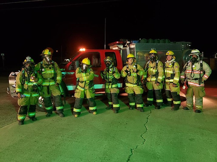 During a September training, Williams firefighters donned full gear and hiked through Williams from Station 1 to Station 2 to work on air conservation and breathing. (Photo/Williams Volunteer Fire Department)