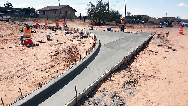Construction continues of N608/Peshlakai Road Aug. 1 in Tuba City, Arizona. (Photo courtesy of Navajo Housing Authority)