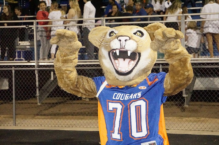 Chino Valley's Cougar mascot cheering on the football team during a game against Odyssey Institute on homecoming night Friday, Sept. 27, 2019, at Chino Valley High School. (Aaron Valdez/Courier, File)