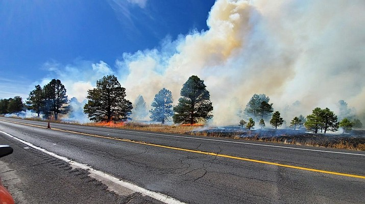 Three Sisters Prescribed Fire producing smoke impacts on SR 64