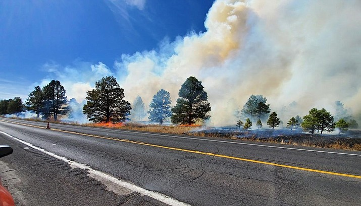 Kaibab National Forest fire managers have begun applying prescribed fire treatments on the first units of the Three Sisters Prescribed Fire Project north of Williams. (Erin Ford/WGCN)