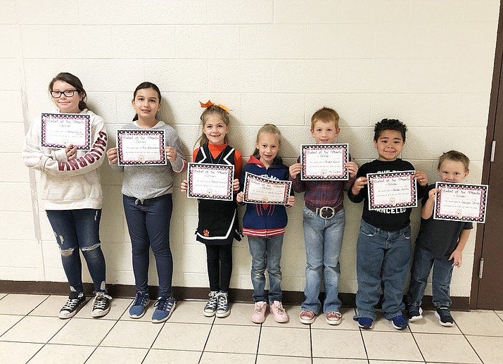 Williams Elementary School October Students of the Month are Hailey Castillo-Unsicker, Ava Almendarez, Amelie Pearson, Laila Trujillo, Alden Vance, Xander Rocha and Sawyer Skinner. (Photo/Williams Elementary-Middle School)