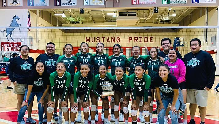 Tuba City Lady Warriors volleyball team defeats Kayenta Mustangs
