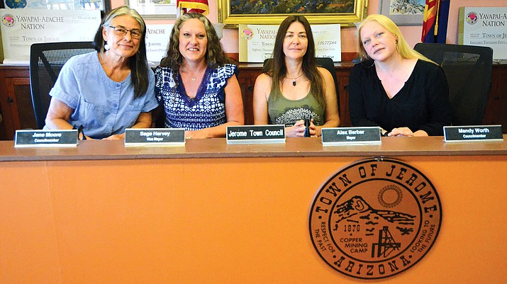 Council Member Jane Moore, Vice Mayor Sage Harvey, Mayor Alex Barber, Council Member Mandy Worth, left to right, pose for a photo after a Jerome Council meeting. VVN/Vyto Starinskas